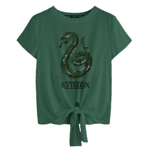 Fantasyobchod Dámské tričko Harry Potter - Zmijozel, měnící flitry, barva zelená, velikost L