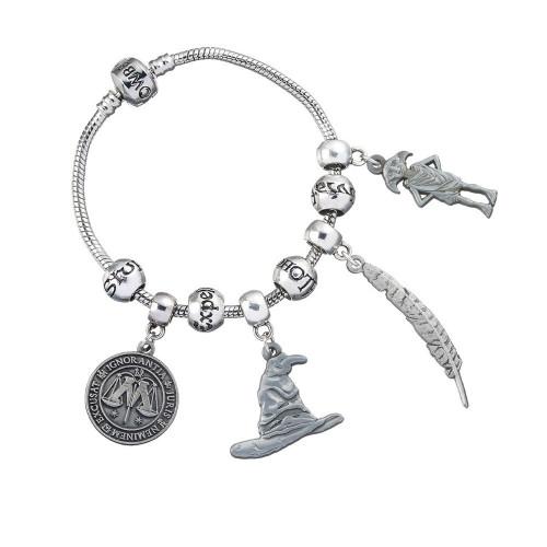 Dárková sada Harry Potter - náramek, 4 přívěsky a 4 korálky s kouzly
