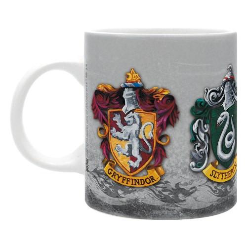 CurePink Keramický hrnek Harry Potter: The 4 Houses bílý 320 ml