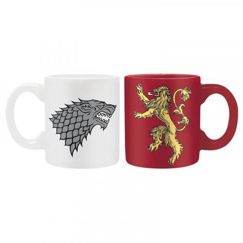 CurePink Keramický mini hrnek Game of Thrones/Hra o trůny: set 2 kusy Stark & Lenister 110 ml