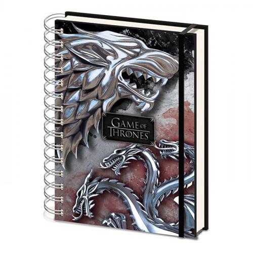 CurePink Poznánkový A5 blok Game of Thrones/Hra o Trůny: Stark & Targaryen kroužková vazba 14,8 x 21 cm SR72503