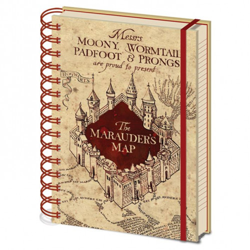 CurePink A5 blok-zápisník Harry Potter: The Marauders Map 14,8 x 21 cm kroužková vazba SR72325
