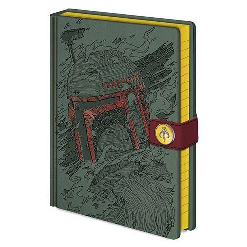 CurePink Blok A5 Star Wars/Hvězdné Války: Boba Fett Art formát zelený SR72454
