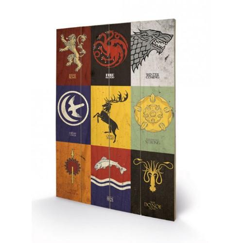 Nástěnný dřevěný obraz Games of Thrones - Sigils