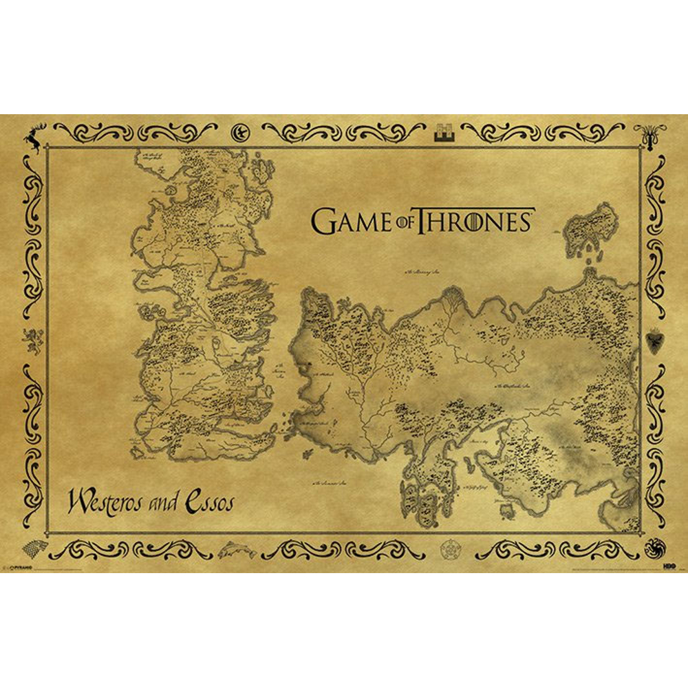 Plakát Game of Thrones - mapa Westerosu a Essosu Antik