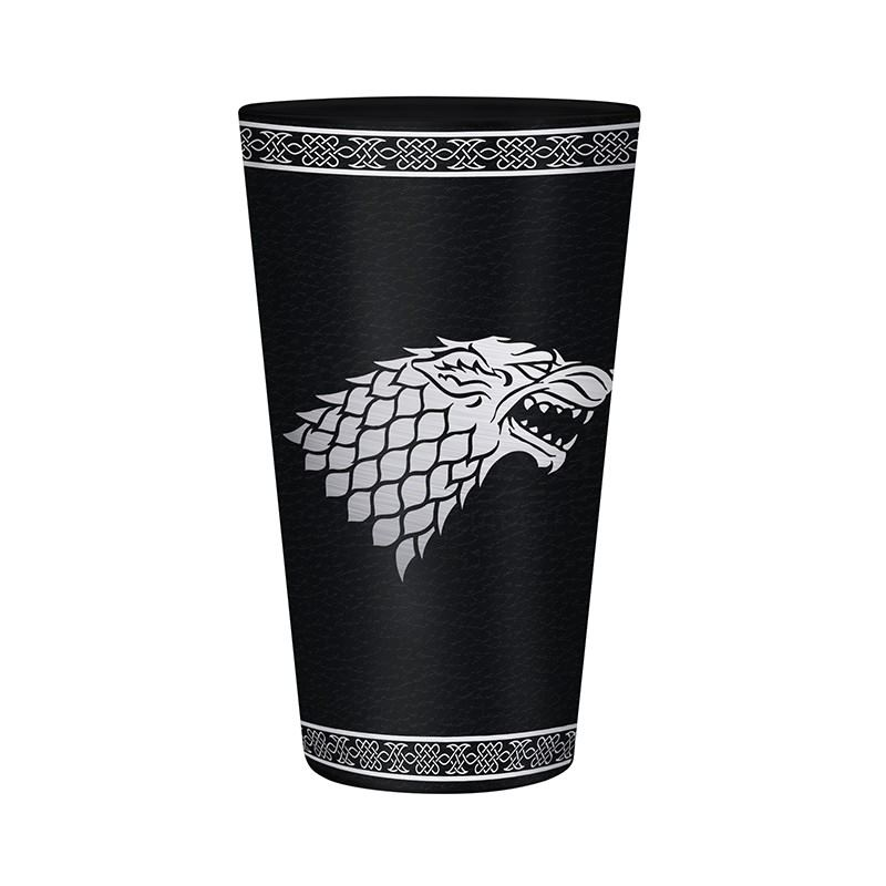 Sklenice Game of Thrones - Stark Logo, černá